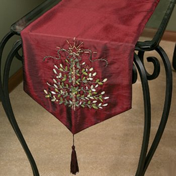 Christmas Embroidered Tree Burgundy Table Runner 72u0026quot;