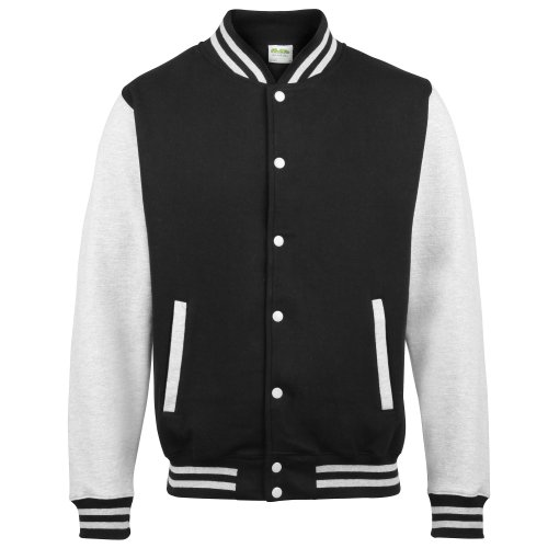 AWDis Varsity Jacket, Chaqueta Bomber para Hombre Jet Black/ Heather Grey