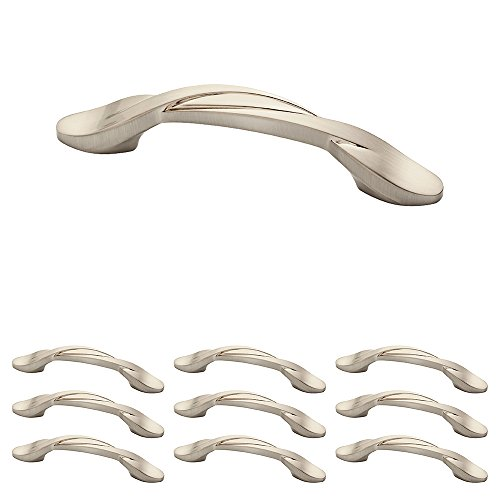 (Franklin Brass P35518K-SN-B 3 inch (76Mm) Twisted Arch Kitchen Cabinet Drawer Handle Pull, Satin Nickel, 10-Pack,)
