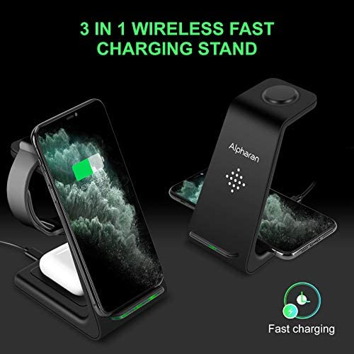 Wireless Charger,3 in 1 Wireless Charging Station,Qi Fast Charging Stand Dock for Apple Watch Series,AirPods,iPhone 12 Pro iPhone 11 Pro Max X XR XS 8 Plus with QC 3.0 Adapter by means of Alpharan (Black)
