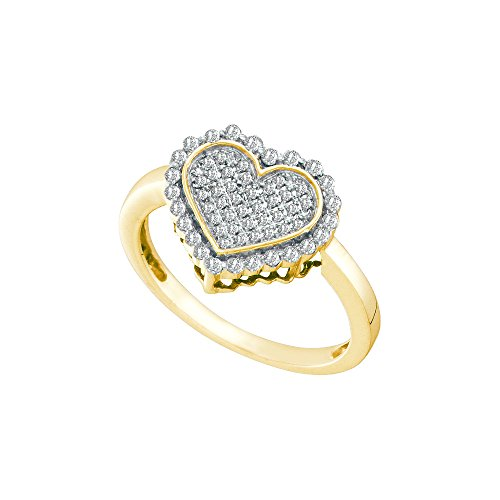 Jewels By Lux 10kt Yellow Gold Womens Round Diamond Heart Cluster Ring 1/4 Cttw Ring Size 5