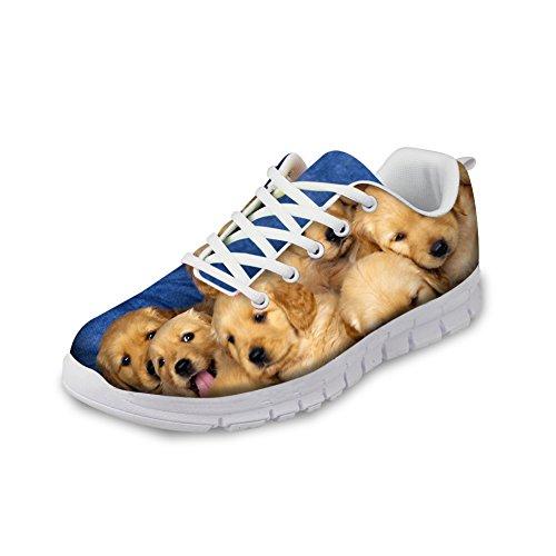 HUGS IDEA Golden Retriever Pattern Womens Lace-p Lightweight Sneakers Athletic Running Shoes US10 qGoRVN3TA
