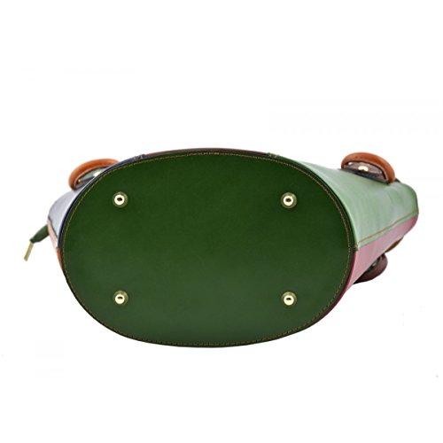 Borsa A Mano In Vera Pelle Multicolor Colore Verde - Pelletteria Toscana Made In Italy - Borsa Donna