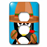 3dRose lsp_204011_6 Print of Adorable Mexican Penguin with Sombrero - 2 Plug Outlet Cover