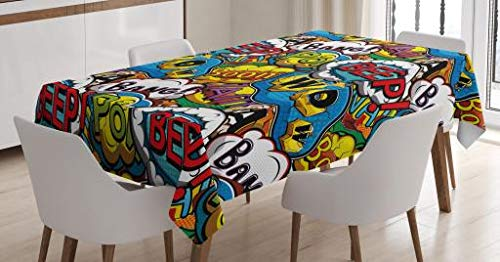 Ambesonne Superhero Tablecloth, Comics Speech Bubbles Beep Wow with Vivid Old Effects Boys Supernatural Print, Dining Room Kitchen Rectangular Table Cover, 52 W X 70 L Inches, Multicolor