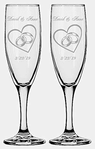 (Gifts Infinity Engraved Wedding Champagne Flutes Set of 2 Personalized Toasting Glasses (Hearts with Rings))