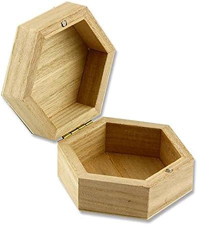 De madera con forma de Hexagonal cajas, PACK de 5: Amazon.es: Hogar