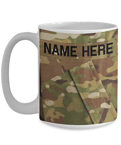 U.S. Army (USA) Staff Sergeant (SSG) E6 Coffee Cup – Personalized - White 15oz – OCP Army Combat Uniform Pattern - Military Ceramic Mug - Customize with (Mascot Uniforms)