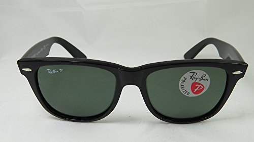 Authentic Ray-Ban Wayfarer RB 2140 901/58 50mm Black Frame w/ Green Polarized - 2140 Wayfarer Rb Rayban