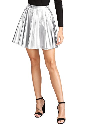 SweatyRocks Women's Disco Shiny Metallic Flare Skater Skirts Silver S ()
