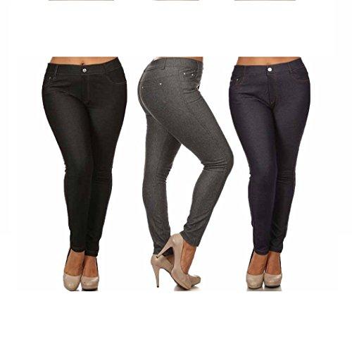 Women's Plus & Regular Size Cotton Blend Stretchy 5 Pocket Jeggings - stylishcombatboots.com