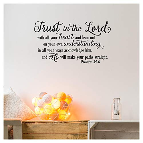 Decal Sticker Wall Lettering (Trust in the Lord With All Your Heart..Proverbs 3:5-6 Vinyl Lettering Wall Decal Sticker (12.5