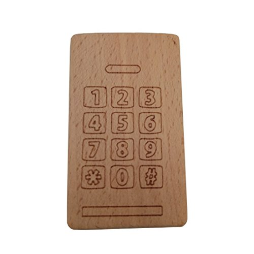 Wendysun 1pcs Beech Wooden Calculator Teether Unfinished Wood Phone Baby Teether Toys Baby Show Gift Newborn Gym Pendant (1pcs)