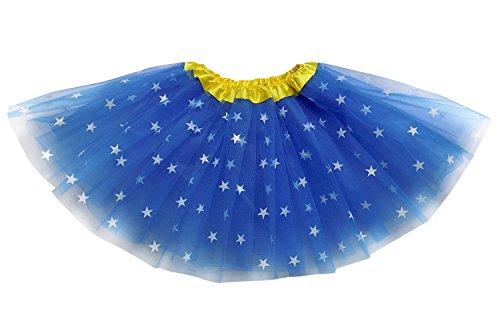 Superhero or Princess TUTU, CAPE, MASK SET COSTUME – Kids Childrens Halloween (Wonder Woman – Blue Star Yellow)