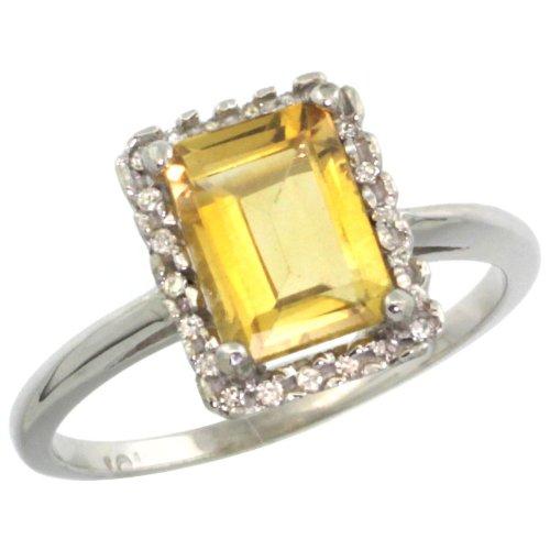 Revoni - Bague Femme - Or blanc 375/1000 (9 carats) - Diamant et Citrine en coupe émeraude 1.6 ct - Tailles 49 à 62