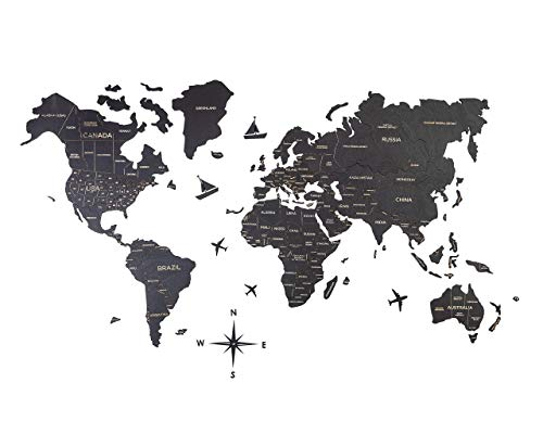 Wooden World Map Black Standard Wall Sticker Decor for Home And Kitchen Decorative Map Gift Idea for Fathers Birthday Wooden Engraved Personalized Gift Idea on Thanksgiving
