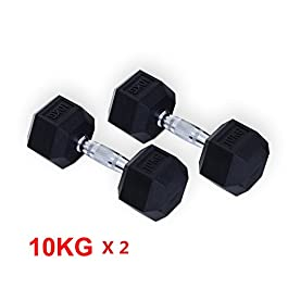 HOMCOM Rubber Dumbbells Sports Hex Weights Sets Home Gym Fit...