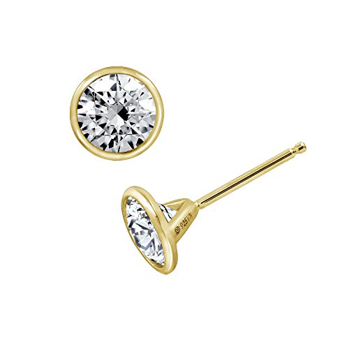 DIAMONBLISS Clear Round Cubic Zirconia Bezel Set Solitare Earrings, Yellow Gold Plated Sterling Silver (2 cttw) - Clear Bezel Set