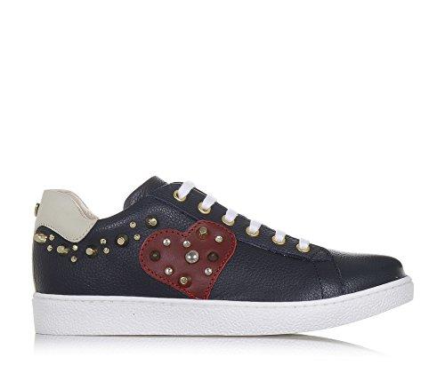 TWIN-SET - Blauer Schuh mit Schnürsenkeln aus Leder, weiße Schnürsenkel und seitlich ein Reißverschluss, Mädchen-28