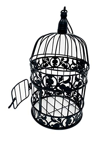 "PET SHOW Round Birdcages Wedding Gift Cards Holder Metal Wall Hanging Bird Cage for Small Birds Party Indoor Ourdoor Decoration 10.6"" Black Pack of 1"