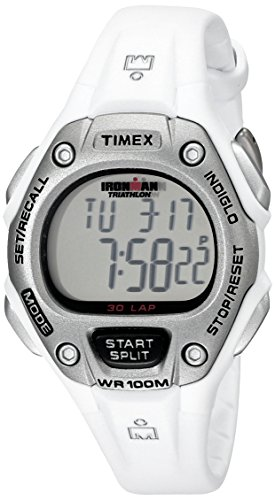 Timex Women's Ironman 30-Lap Digital Quartz Mid-Size Watch, White - ()