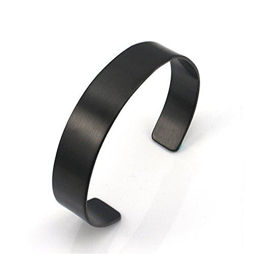 COUYA Black Stainless Steel Plain Blank Matt Brushed Finish Bangle Bracelets Men 70mm inside - Plain Matt