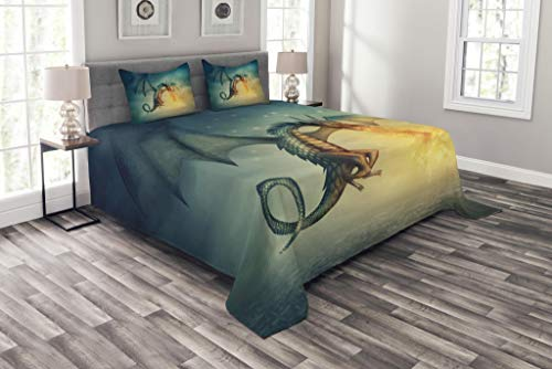Lunarable Fantasy Bedspread Set King Size, Legendary Dragon in The Sky with Magical Flame Fairytale Creature Surreal Design, Decorative Quilted 3 Piece Coverlet Set with 2 Pillow Shams, Teal Yellow