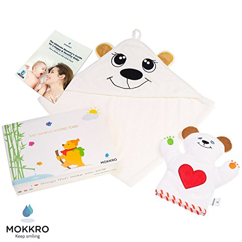 Organic Bamboo Baby Hooded Towel for Boys and Girls | Highly Absorbent, Embroidered Bath Towel with Ears + Unisex Bear Bath Mitt + eBook on Raising Smart, Healthy (Unisex Bear)
