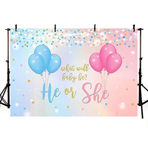 MEHOFOTO He or She Gender Reveal Backdrop Studio Photography Props Blue or Pink Balloons Gold Polka Dots Boy or Girl Baby Shower Party Photo Booth Background Banner for Dessert Table Supplies 7x5ft