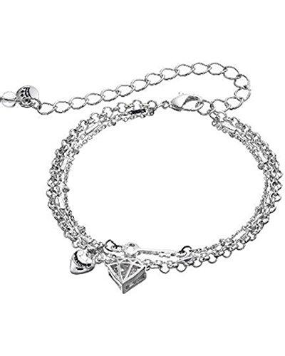 Juicy Couture Key Heart and Diamond-Shaped Multi Strand Bracelet Silvertone