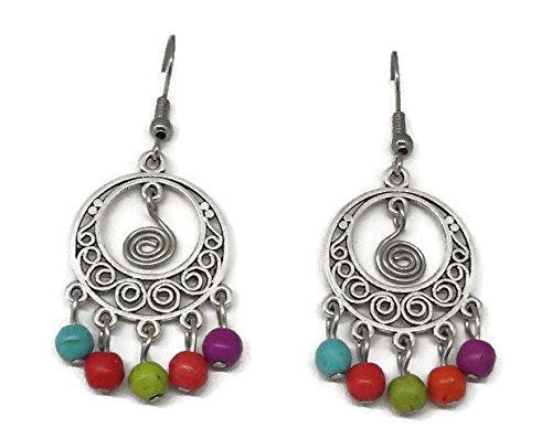 Boho Chandelier Earrings - Colourful Gypsy Bohemian Jewelry