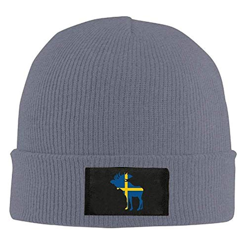 JDhome Swedish Flag and Moose - Adult Knit Cap Beanies Cap Winter Warm Hat