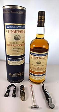 Glenmorangie Highland Single Malt Scotch Whisky Distillery Bottling Burgundy Wood Finish (1 Litre) en su caja de regalo original con cuatro accesorios de vino, 1 x 1000ml