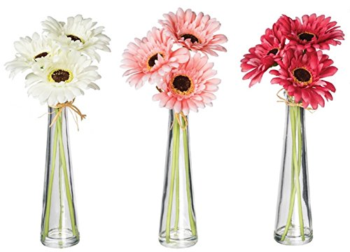 Daisy Jug - London Home Décor Set of 3 Gerbera Daisies with Vases - White/Pastel Pink/Dark Pink - Add a pop of color to any space in your home!