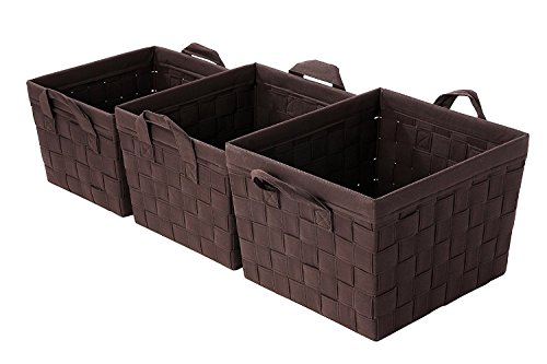 Woven Storage Baskets / Nesting Baskets - Brown Organization Baskets - 3 Piece Set (Dark Wicker Basket)
