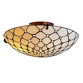 Image of Tiffany Style Ceiling Fixture Lamp Jeweled 17' Wide Stained Glass White Cream Antique Vintage Light Decor Living Room Bedroom Hallway Kitchen Gift AM030CL17 Amora Lighting