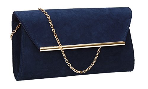 SwankySwans Women's Sabrina Suede Look Party Prom Clutch Bag Clutch Navy blue