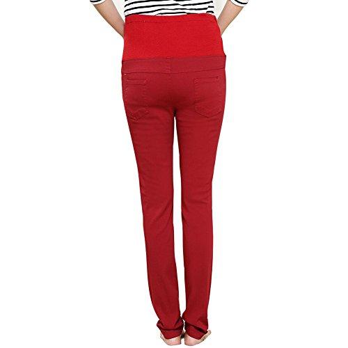 Highdas Embarazada Delgada Slim Leggings Pies Pantalones Vino
