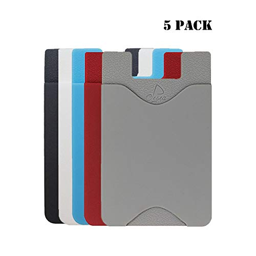 oPesea Phone Card Holder with Cutout,Easy Sliding Card in and Out,Adhesive Credit Card Sleeve ID Pocket/Wallet Stick on The Cell Phone/Case of iPhone,Samsung,LG,BLU,Piexl,Moto(Slim 5PCS)