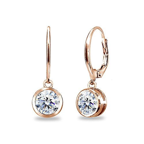 Rose Gold Flashed Sterling Silver 6mm Round Bezel-Set Dangle Leverback Earrings Made with Swarovski Zirconia