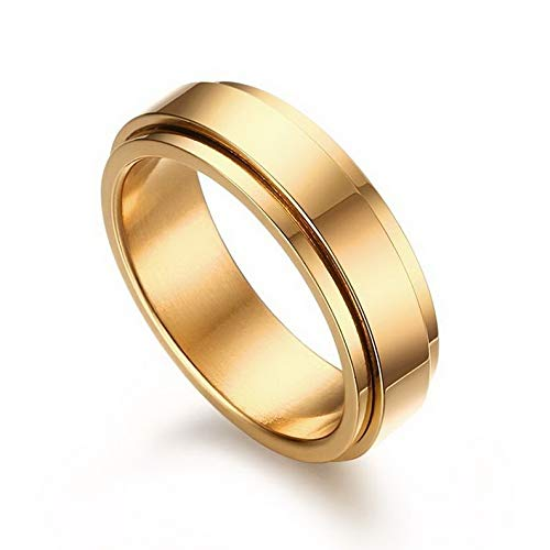 Waldenn 6mm Gold Plated Spinner Band Mens Stainless Steel Wedding Ring Size 7/8/9/10/11 | Model RNG - 27084 | 9