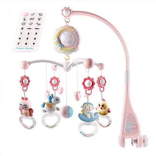Babymobiel voor kinderbedje wieg met nachtlampje, muziek, projector en afstandsbediening (roze)