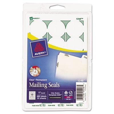 Avery 05248 Mailing Seals, 1-Inch Round, 480/PK, Clear