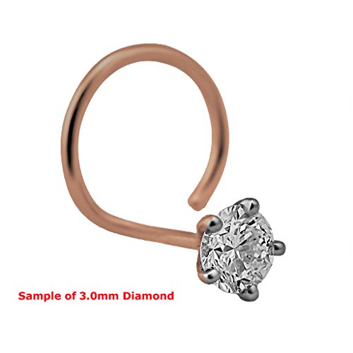 1.5mm Round Cut Diamond and 18K Rose Gold Nose Ring/ Pin