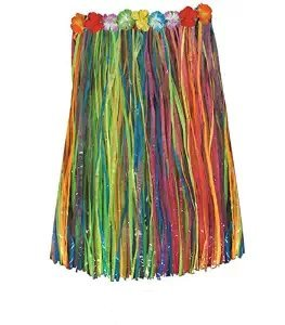 """Adult 36"""" Artificial Multi-color Grass Hula Skirt with Floral Waistband Pkg/1"""