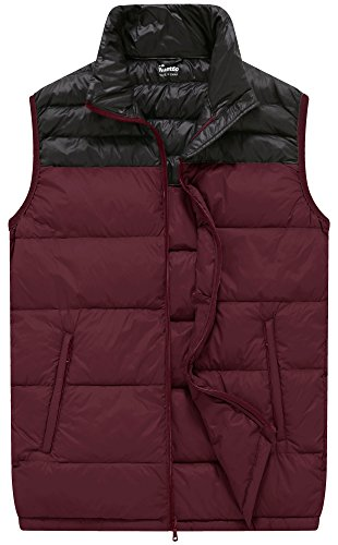 Wantdo Men's Packable Outer Ultra Light Insulated Down Vest, Wine Red, M (Puffy Layer Jacket)