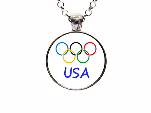(Digital Art Olympic Team USA Necklace Or Keychain Rio 2016 Olympic Games Rio De Janeiro Olympian Gifts USA Team Gifts)