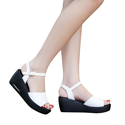 Clearance Sale Shoes For Women ,Farjing Fashion Women Fish Mouth Platform High Heels Wedges Sandals Buckle Slope Shoes(US:6.5,White ) ()