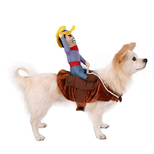 HDE Cowboy Dog Costume Halloween Pet Apparel Soft Saddle with Stuffed Cowboy Outfit for Medium and Large Dogs (Brown, Large) ()