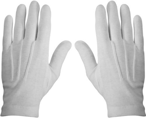 WHITE STITCHED COTTON GLOVES- PAIR (X-LARGE)